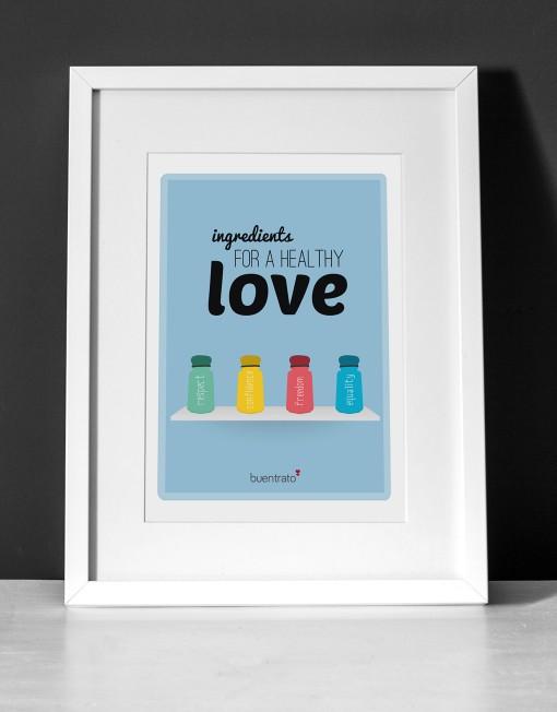 Láminas Buentrato Ingredientes para un amor sano